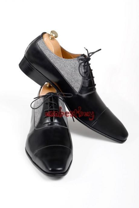 New Handmade Classic Fabric Style Real Leather Two Tone Dress Shoes, Men Shoes