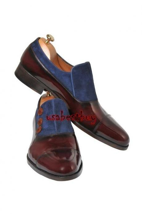 New Handmade Classic Button Style Real Leather Two Tone Dress Shoes, Men Shoes