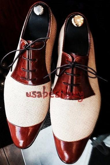 New Handmade Classic Wingtip Style Real Leather Dress Shoes, Men Formal Shoes