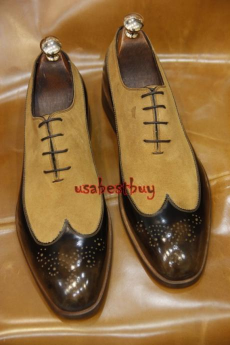 New Handmade Classic Style Real Leather and Suede Brown Dress Shoes, Men Shoes