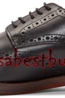 New Handmade Brogue Style Men Pure Leather Shoes in Black Colour, formal shoes