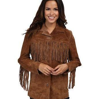 Woman Western Suede Leather Jacket Brown Fringes XS TO 5XL