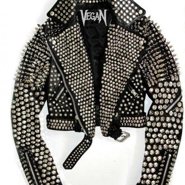 New Womens Punk Rock Silver Full Studded Long Spiked Biker Leather Jacket, Women leather jackets, Leather Jacket for women