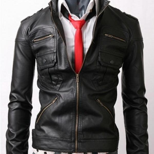 Handmade Custom New Men Front Zip Pockets Design Leather Jacket, men leather jacket, Leather jacket for men, Biker Leather Jacket, Motorcycle Jacket