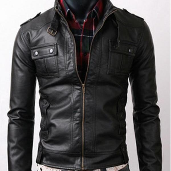 Handmade Custom New Men Slim Fit Strap Pockets Style Leather Jacket, men leather jacket, Leather jacket for men, Biker Leather Jacket, Motorcycle Jacket