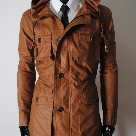 Handmade Custom New Men Slim Fit Hooded Long Leather Jacket, men leather jacket, Leather jacket for men, Biker Leather Jacket, Motorcycle Jacket