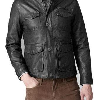500898455f3 ... Handmade Custom New Men Classic Front Four Pockets Leather Jacket