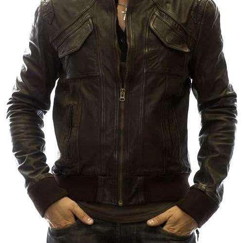 Handmade Custom New Men Front Stylish Pockets Leather Jacket, men leather jacket, Leather jacket for men, Biker Leather Jacket, Motorcycle Jacket