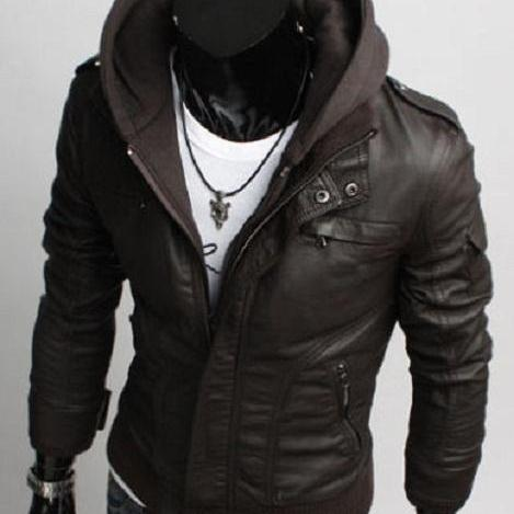 Handmade New Men Fabric Hooded Biker Leather Jacket, Men Leather Jacket, leather jacket for men