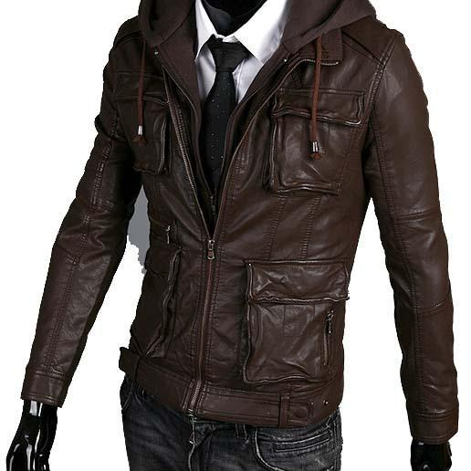 Handmade New Men Stylish Hooded with Multi Pockets Leather Jacket,Leather jacket