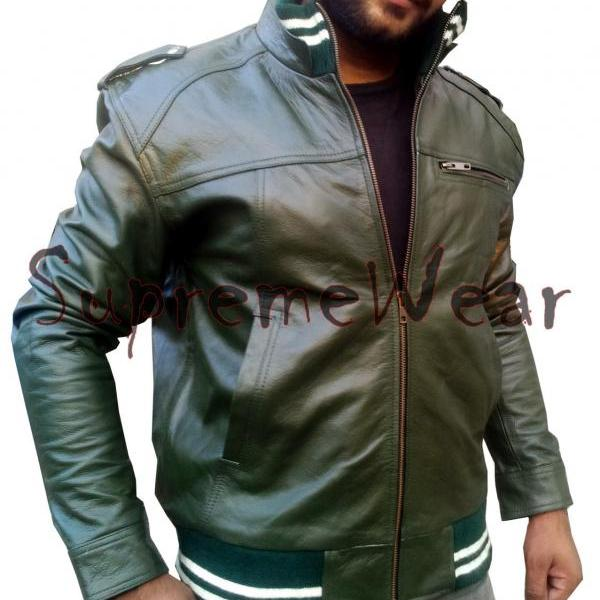 Handmade New Men Army Green Rib Style Slim Fit Leather Jacket, Men leather jacke