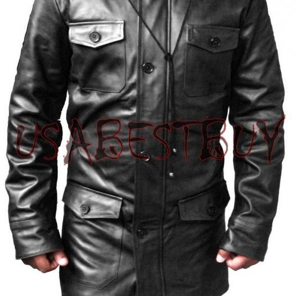 Handmade New Men Stylish Chic Black Long Leather Jacket, Men Leather jacket