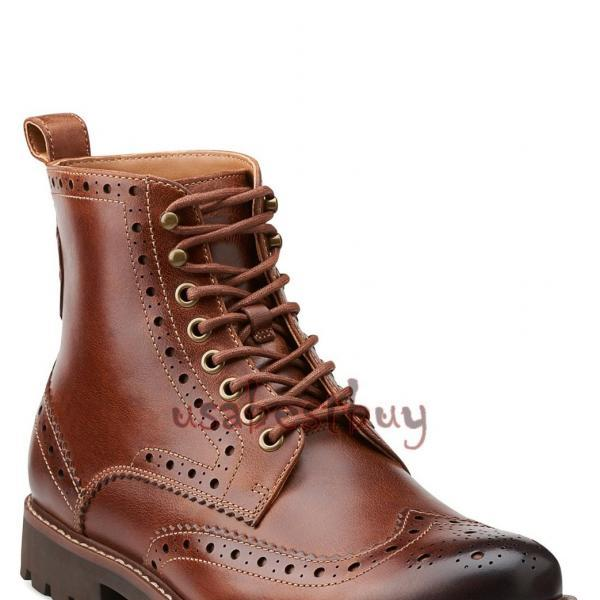 New Handmade Oxford Brogue Real Leather Ankle Boots, Men fine leather boots