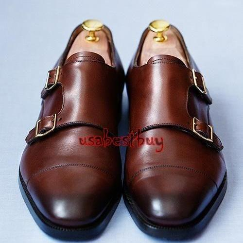 New Handmade Monk Style Dark Brown Genuine Leather Shoes , Men leather Shoes
