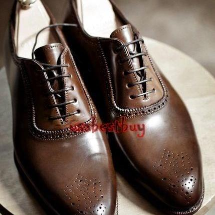 New Handmade Brogue Style Dark Brown Genuine Leather Shoes , Men leather Shoes