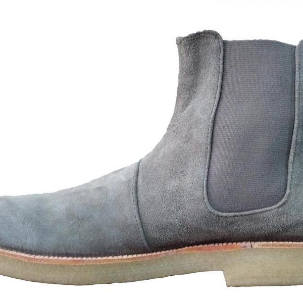 New Handmade Mens Grey Chelsea Suede Leather Boots, Men suede leather boot Crepe