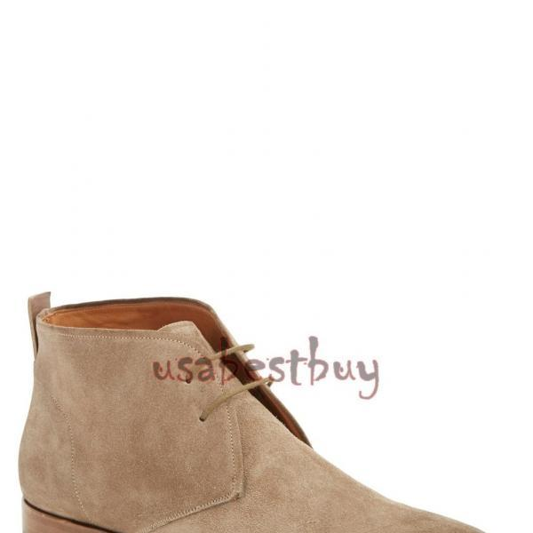 New Handmade Chukka Superb Style Beige Suede Leather Boots, Men leather boots