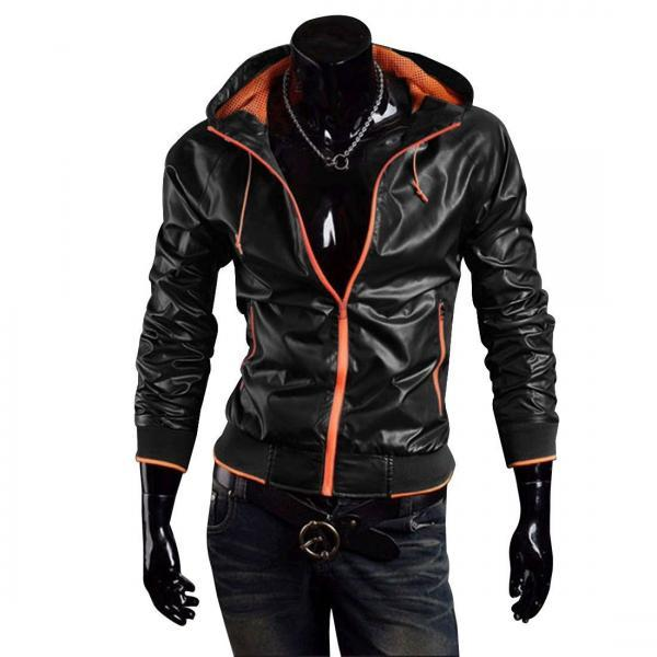 New Handmade Men Stylish Bomber Hooded Leather Jacket, Leather jacket for men