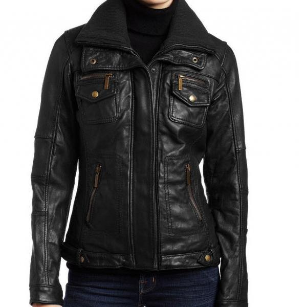 New Handmade Women Inside Doubler Collar Leather Jacket, Leather jacket for wome