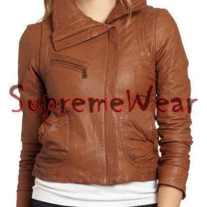 New Handmade Women Slim Fitted with Large Collar Brown Leather Jacket